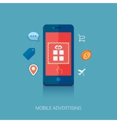 Mobile ad on smartphone flat icon vector image