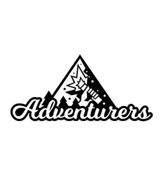 monochrome logo adventure in the mountains the vector image