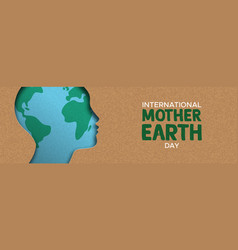 mother earth day banner of paper cut woman head vector image