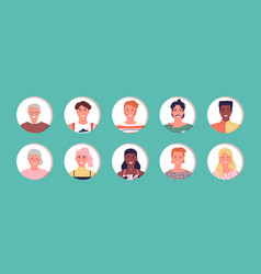 multi age people avatar character face set vector image