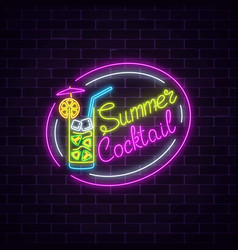 Neon summer sign of cocktail with umbrella on vector