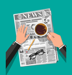 Newspaper cup of coffee pencil vector
