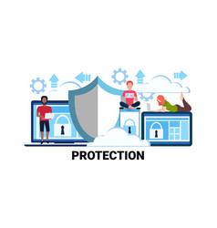 Online network security data protection concept vector