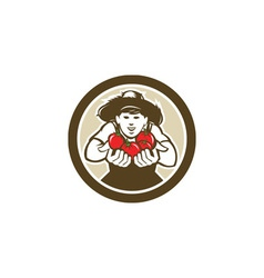 Organic Tomato Farmer Boy Circle Retro vector image
