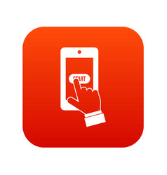 playing games on smartphone icon digital red vector image