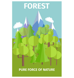 Poster depicting pure force of nature vector