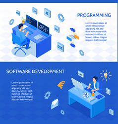 programmers isometric banners vector image