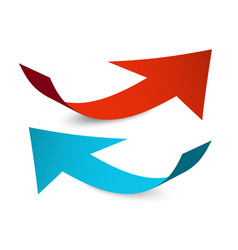 red and blue arrows paper arrow set isolated on vector image