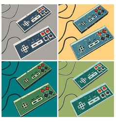 Retro game controllers posters vector