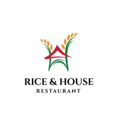 Rice and house asian restaurant logo design vector