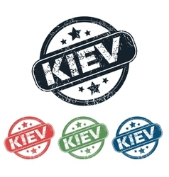 Round Kiev city stamp set vector
