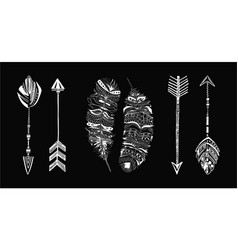 rustic ethnic boho style feathers and arrows vector image