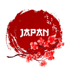 sakura on red sun background japan sign template vector image