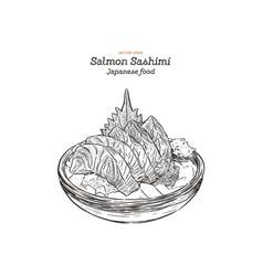 Salmon sashimi raw fish in traditional japanese vector