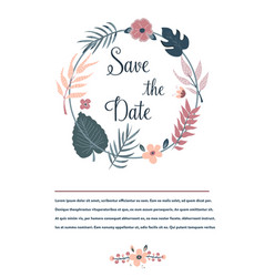 save the date banner invitation with foliage vector image