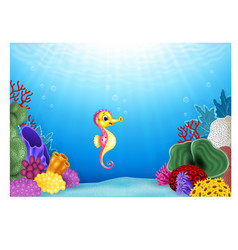 Seahorses with beautiful underwater world vector image