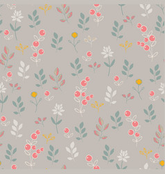 Seamless background with berries and flowers vector