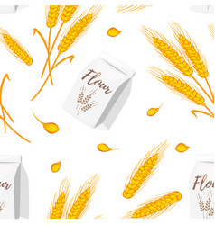 seamless pattern with wheat cereals vector image