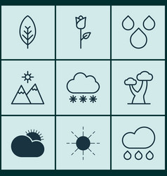 Set of 9 landscape icons includes love flower vector