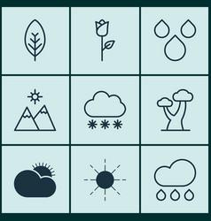 set of 9 landscape icons includes love flower vector image