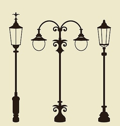 Set of vintage various forged lampposts vector image