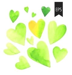Set of watercolor green heart vector