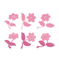 set retro style flower and leaf isolated vector image