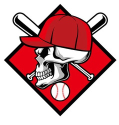 Skull wearing hat and crossed baseball bat vector