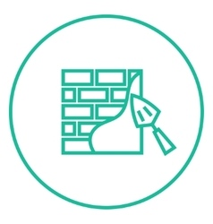 Spatula with brickwall line icon vector image