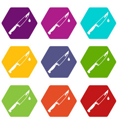 steel knife icon set color hexahedron vector image