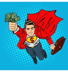 Super Businessman Flying Businessman Pop Art vector