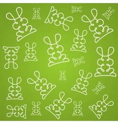 Texture background in linear design with rabbits vector