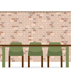 Three Empty Chairs With Long Table On Brick Wall vector