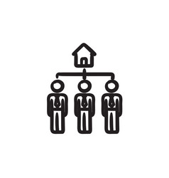 Three real estate agents sketch icon vector