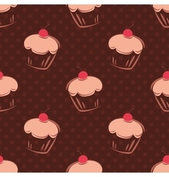 Tile cupcake pattern with polka dots vector