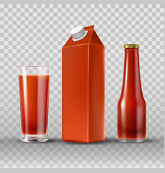 Tomato juice and ketchup vector