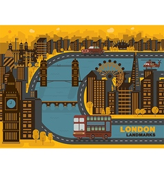 Travel london england city background flat vector