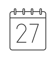 twenty seventh day month linear icon vector image