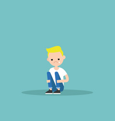 upset crying blond boy sitting and hugging his vector image