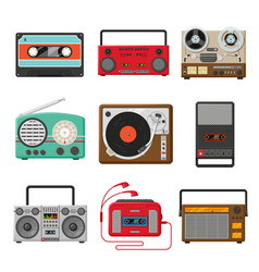 Vintage audio music and sound recorders set vector