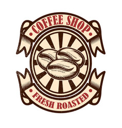 vintage coffee shop emblem design elements for vector image