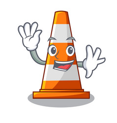 waving traffic cone on made in cartoon vector image