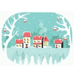 Winter background with a peaceful village in snow vector