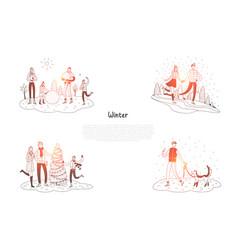 winter - people walking dog enjoying winter vector image