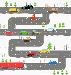 Winter road with cars vector image