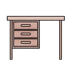 Wooden desk of three drawers in colored crayon vector