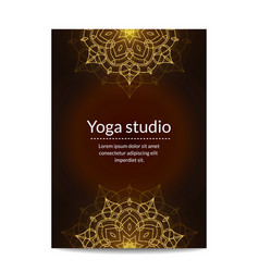 yoga studio banner with gold glitter mandalas vector image