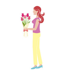 cartoon woman with bouquet flower vector image