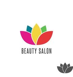 Lotus logo flower colorful beauty salon emblem vector image vector image