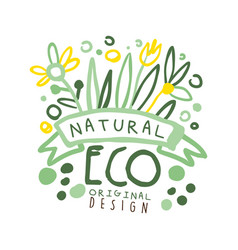 natural eco label original design logo graphic vector image vector image